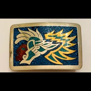 ❤️ Mexican BELT BUCKLE w/ Gorgeous Inlay Design